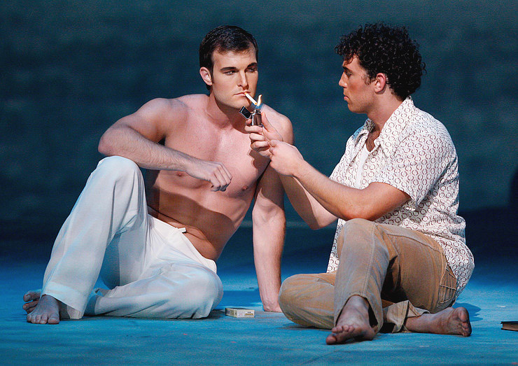 'Before_Night_Falls' Jonathan Blalock as Lazaro and Wes Mason as Renaldo Arenas. Photo by Ellen Appel.