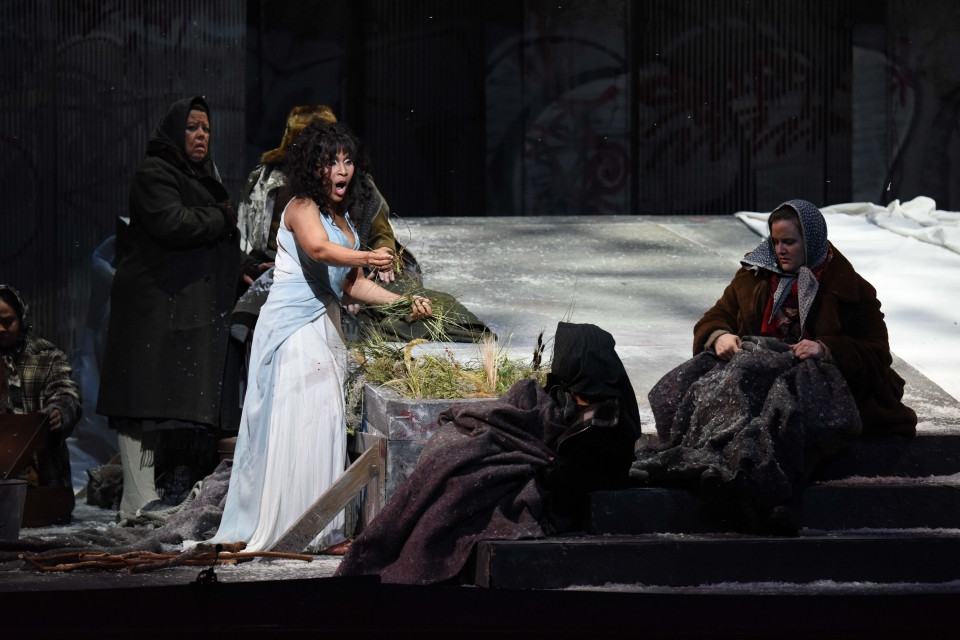 Talise Trevigne as Ophelia has gone mad and believes she is married to Hamlet; Fort Worth Opera.