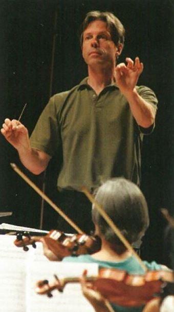 FWOpera Music Director Joe Illick conducts the Frau Margot cast and Fort Worth Symphony Orchestra at the August 2006 orchestral reading of Frau Margot at Ed Landreth Hall on the TCU Campus.
