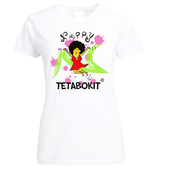 Tee-shirt femme Nappy bokit blanc/noir