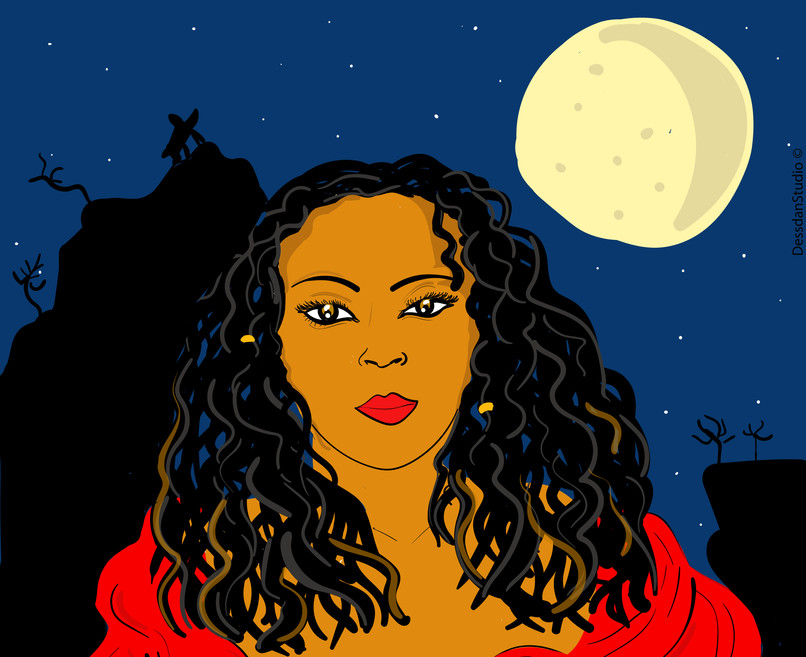 Woman taken in front of the full moon an
