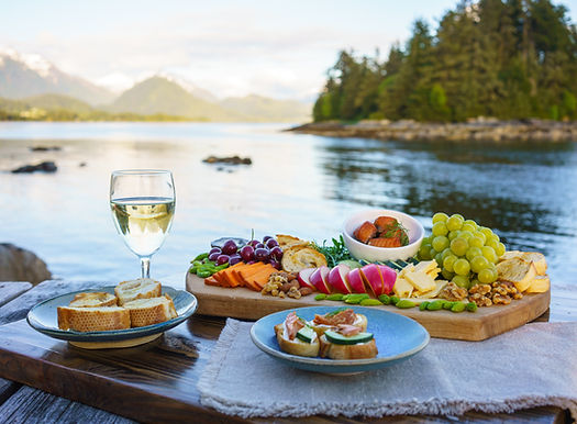 A beautiful spread of food to pair with Sitka Wild Seafoods jarred salmon