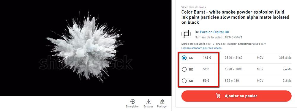 Tarif vidéo Shutterstock