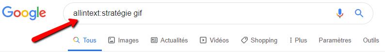 commande de recherche google allintext