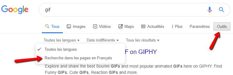 Paramètre langue de recherche Google