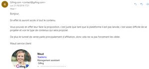 mail du service client de gifing