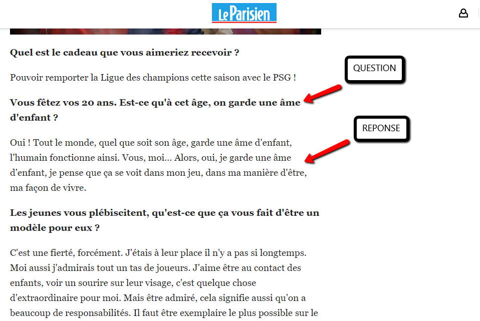 Modèle interview question réponse