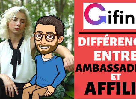Quelles différences entre un ambassadeur Gifing et un simple affilié ?