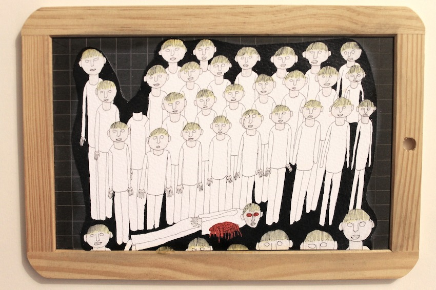 collage sur ardoise d'écolier
