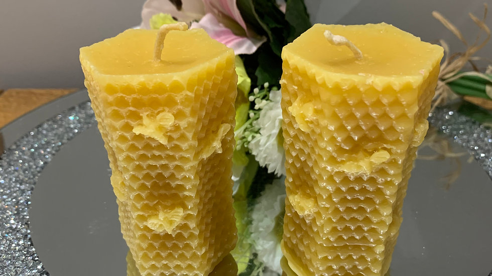 Beeswax Honeycomb with bees  pillar candle