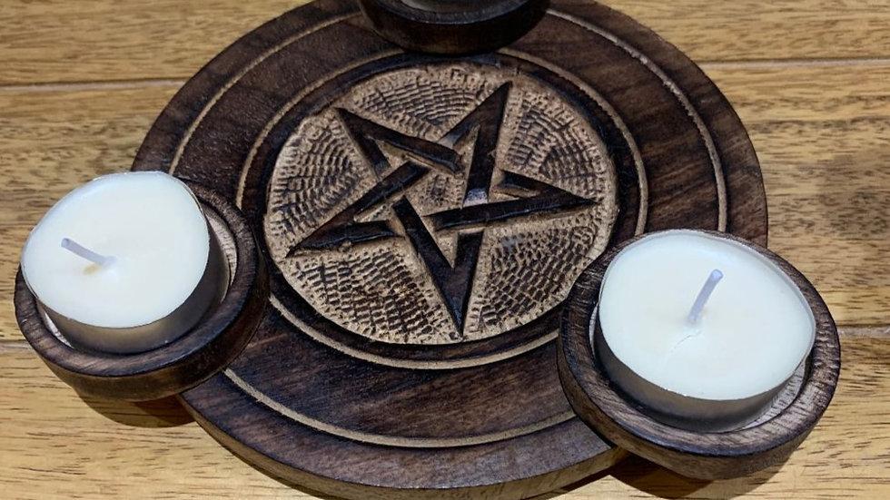 Triple Moon/Pentagram Tea Light Holder