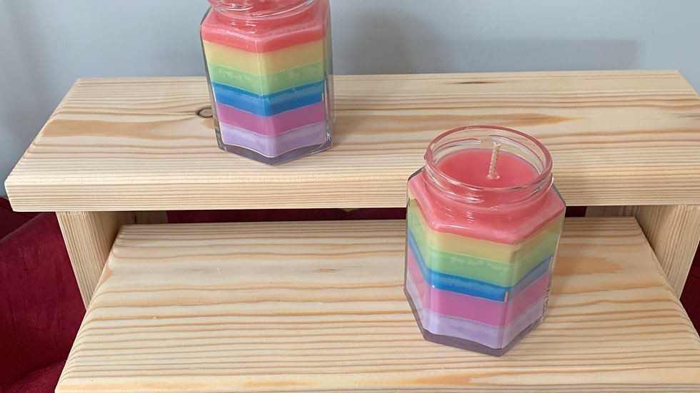 Scented Rainbow container candle with lid