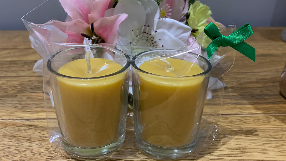Pair of Beeswax Votive candles