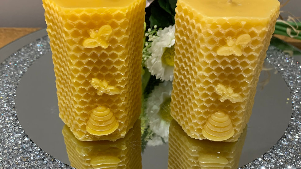 Beeswax Honeycomb with bees and hive pillar candle
