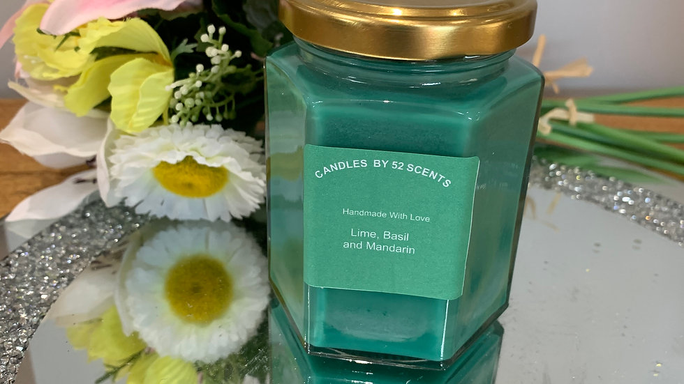 196ml Scented Hexagon container candle with lid