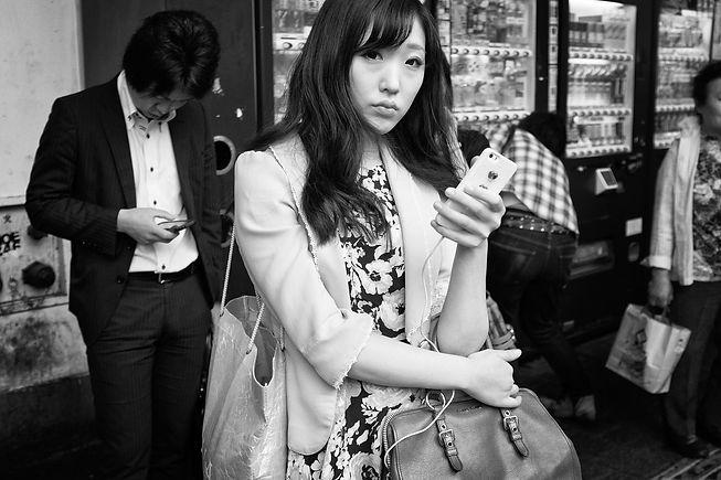 Japan girl with mobile (b&w).jpg