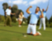Happy golfer kneeling at hole with raise