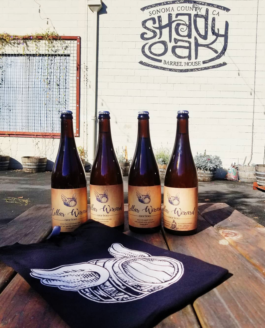 Cellar wizard series labels and flying barrel alt. logo t-shirt