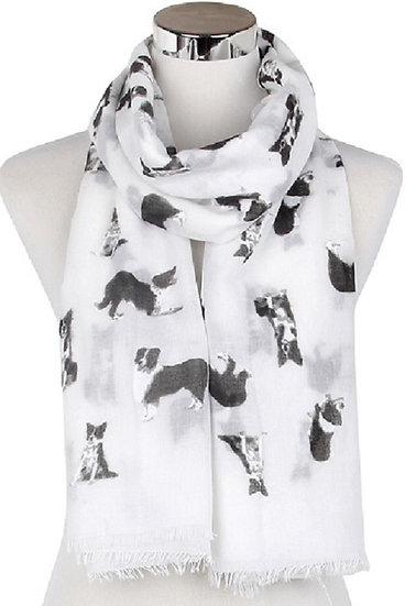 White Border Collie Dog Print Fashion Scarf Shawl Wrap