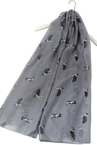 Grey Border Collie Dog Print Fashion Scarf Shawl Wrap