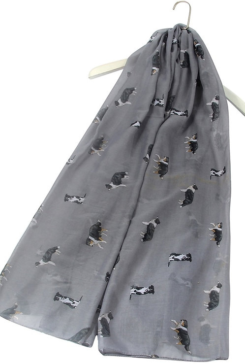 Image of Grey Border Collie Dog Print Scarf