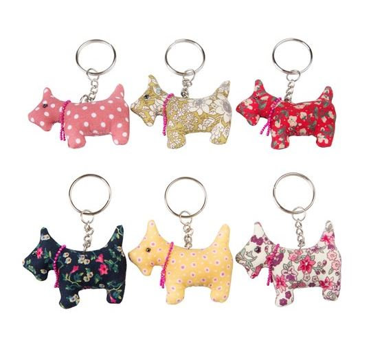 Multi Sass and Belle Scotch Scottie Puppy Dog Vintage Fabric Keyring