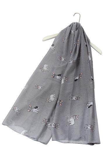 Grey French Bull Dog Print Fashion Scarf Shawl Wrap