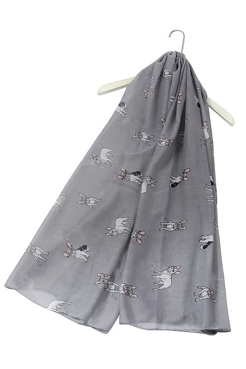 Image of Grey French Bulldog Dog Print Scarf