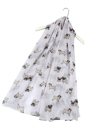 White Pug Dog Print Fashion Scarf Shawl Wrap