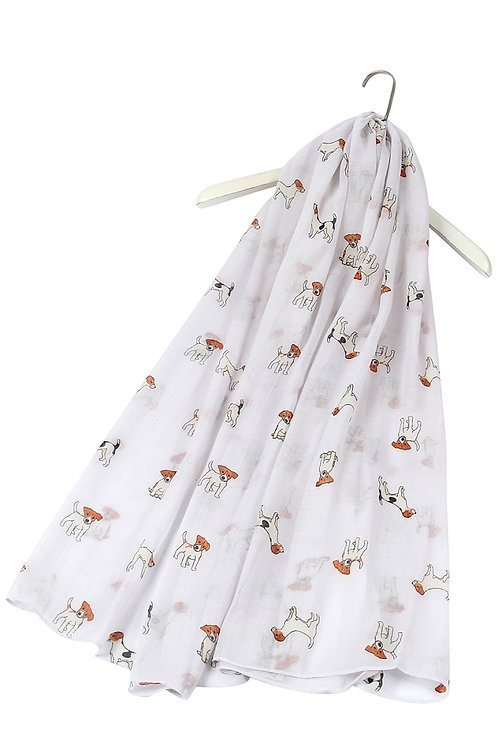 Image of White Jack Russell Dog Print Scarf