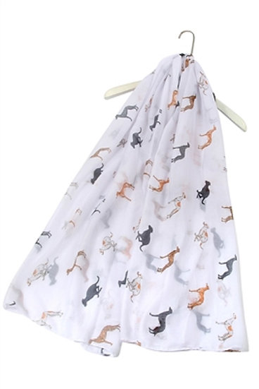 White Greyhound Dog Print Fashion Scarf Shawl Wrap