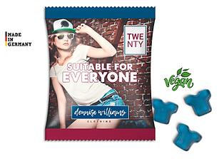 Veganes Fruchtgummi in Sonderformen in Minitüte mit Logodruc