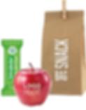 Frucht-Snacks mit Logo in Papiertüte als Messegeschenk für Gesundheitstage mit LogoObst und Riegel