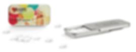 Zuckerfreie Minzpastillen in Flatbox aus Blech mit Prägung und Logodruck