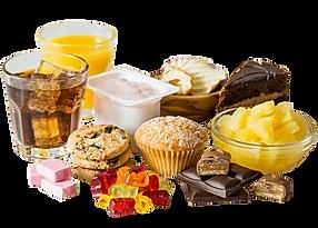 Ungesunde Snacks wie Kuchen, Kekse und Cola