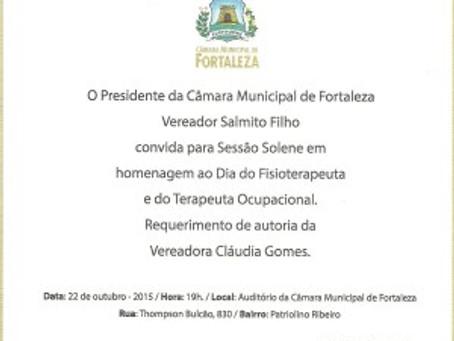 Homenagem ao Dia do Fisioterapeuta e do Terapeuta Ocupacional – Vereadora Cláudia Gomes.