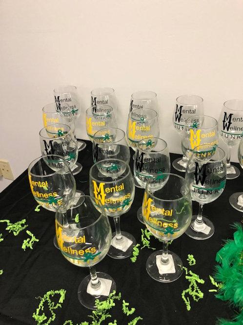 Mental Wellness Junkie -Wine Glass