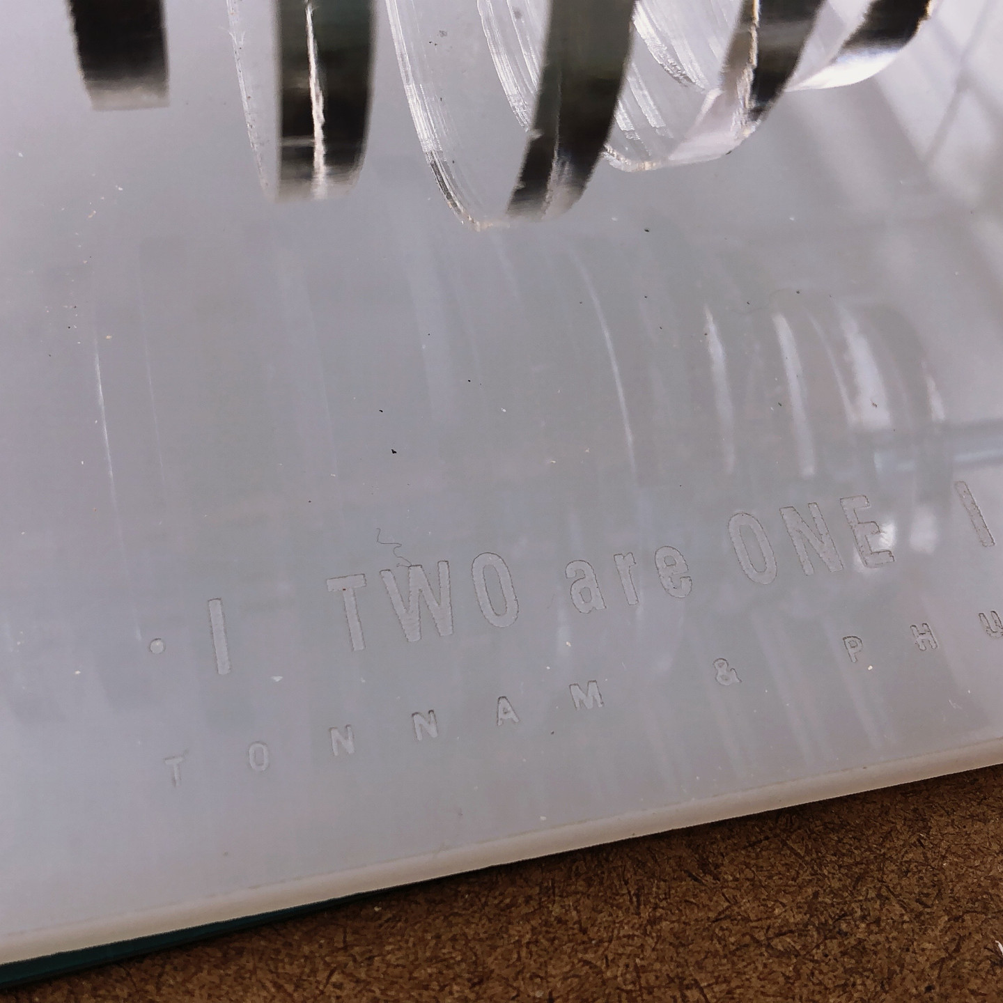 I also engrave some words on the base of the sculpture