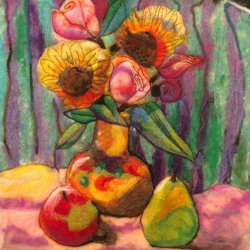 Sunflowers, Roses and Fruit