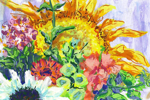 Sunflower and Foxglove