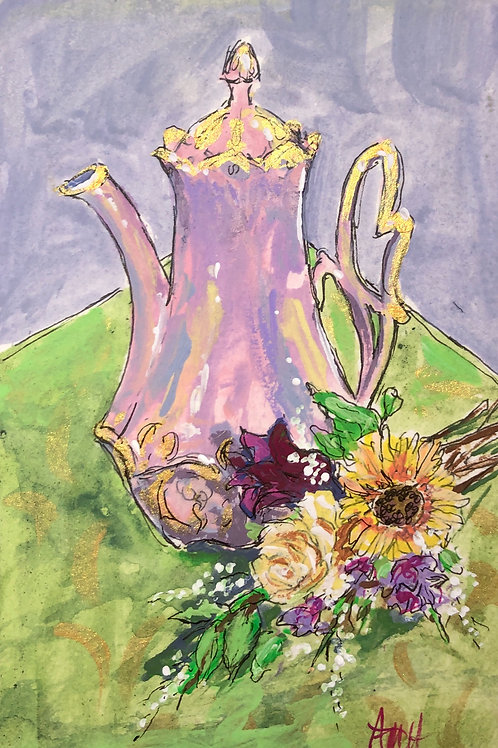 Coffee Pot and Flowers