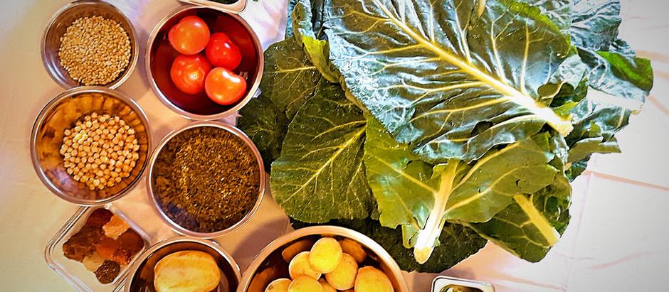Cauliflower leaves stuffed with freekeh