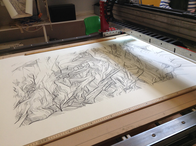 Finished drawing on the CNC bed