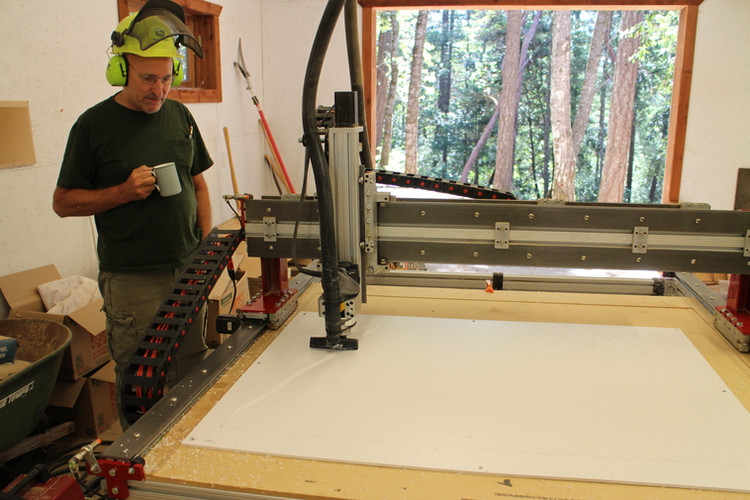 Clive cutting plates on the CNC