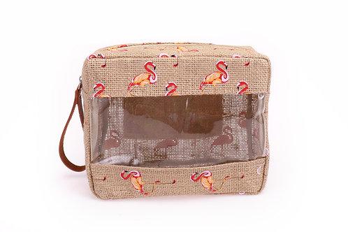 flamingo jute cosmetic bag