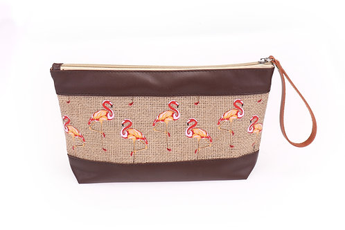 flamingo jute cosmetic bag