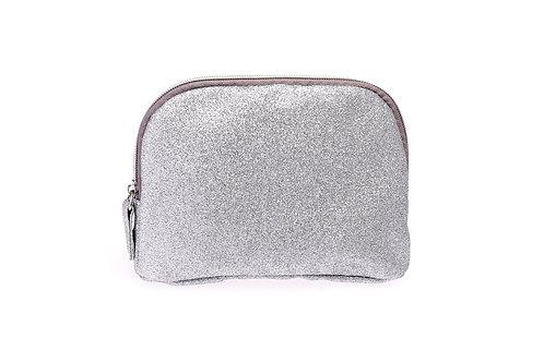 T shape silver glitter pouch