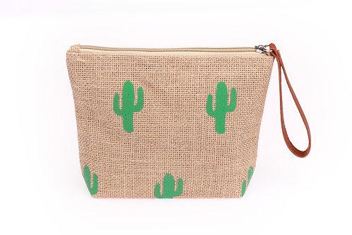 cactus jute cosmetic bag
