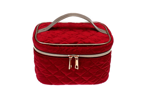 Quilted velvet cosmetic bag