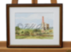 A Giclee Print Of A Watercolour Painting By Harvey Graver Of A Cornish Engine House Showing A Brown Frame With Gold Detail
